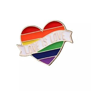 Jewelry - 4/$20 Love Is Love Rainbow Heart Banner Enamel Pin